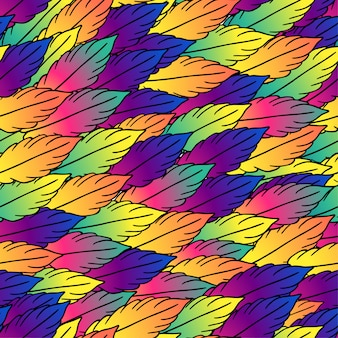 Seamless pattern stylized feathers in bright colors with black stroke