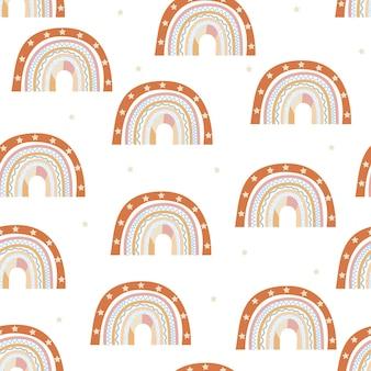 Seamless pattern of stylized hand drawn rainbows