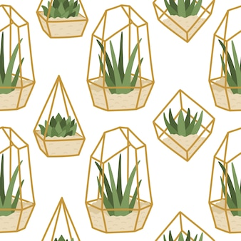 Seamless pattern succulents in golden terrariums, trendy hand drawn home plants in flat style, scandinavian interior decor.