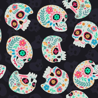 Seamless pattern of sugar skulls