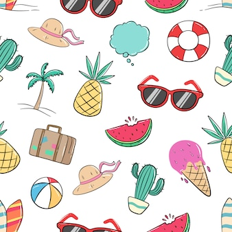 Seamless pattern of summer elements with colored doodle style
