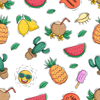 Seamless pattern of summer fruits with colored doodle style