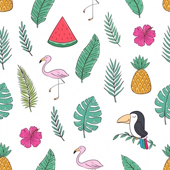 Seamless pattern of summer icons with flamingo, watermelon and pineapple with doodle style