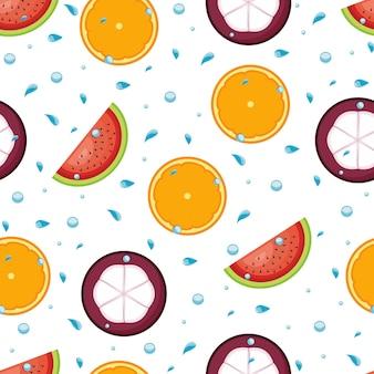 Seamless Pattern Summer Tropical Fresh Fruit Wallpaper Background