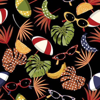 Seamless pattern summer vibes ,hand drawn beach elements