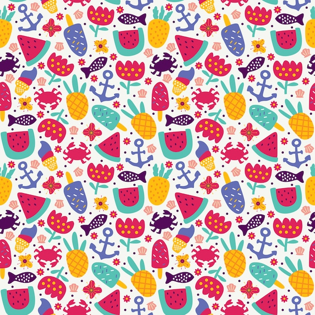 Seamless pattern summer with pineapple fruit ice cream crab anchor fish watermelon and flower doodle style