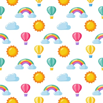 Seamless pattern sun, balloon, rainbow and clouds. kawaii wallpaper on white background. baby cute pastel colors. funny faces cartoon.