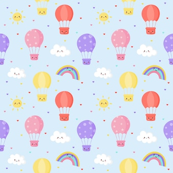 Seamless pattern sun, balloon, rainbow and clouds. kawaii wallpaper