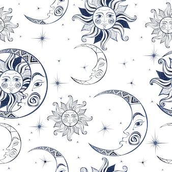 シームレスパターン太陽の月と星。宇宙の背景