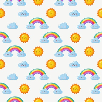 Seamless pattern sun, rainbow and clouds. kawaii wallpaper on white . baby cute pastel colors. funny faces cartoon.