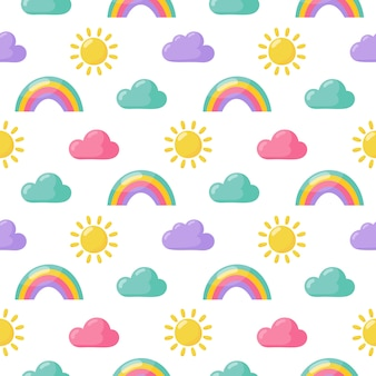 Seamless pattern sun, rainbow and clouds.