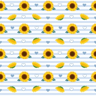 The seamless pattern of sunflower and leaf on background.