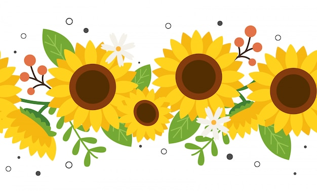 Seamless pattern of sunflower