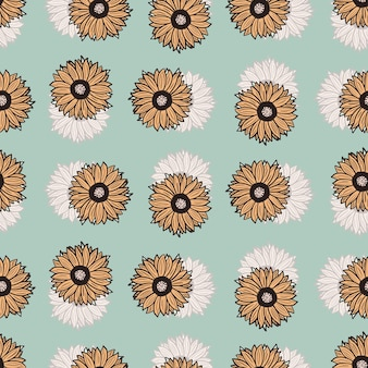 Seamless pattern sunflowers blue background. beautiful texture with colorful sunflower and leaves.