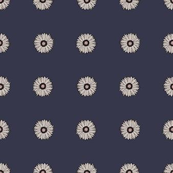 Seamless pattern sunflowers dark blue background. simple texture with line sunflower.