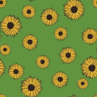 Seamless pattern sunflowers on green background. beautiful texture with yellow sunflower and leaves.