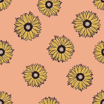 ピンクの背景にシームレスなパターンのひまわり。黄色いヒマワリと葉の美しい質感。