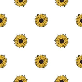 Бесшовные подсолнухи на белом фоне. красивая текстура с желтым подсолнухом и листьями. геометрический цветочный шаблон в стиле каракули для ткани. дизайн векторные иллюстрации.