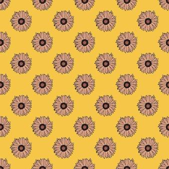 黄色の背景にシームレスなパターンのひまわり。ひまわりと葉の美しい質感。