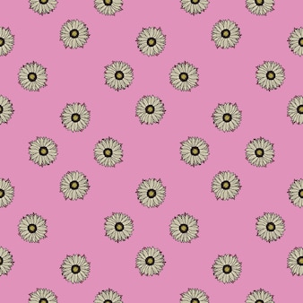 Seamless pattern sunflowers pink background. simple texture with sunflower and leaves.