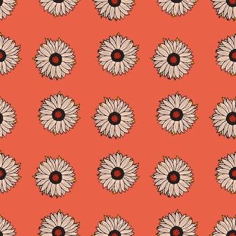 シームレスパターンひまわり赤い背景。ひまわりと葉っぱのシンプルな風合い。