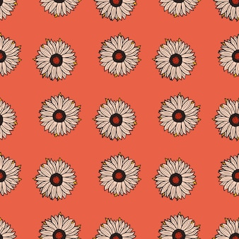 Seamless pattern sunflowers red background. simple texture with sunflower and leaves.