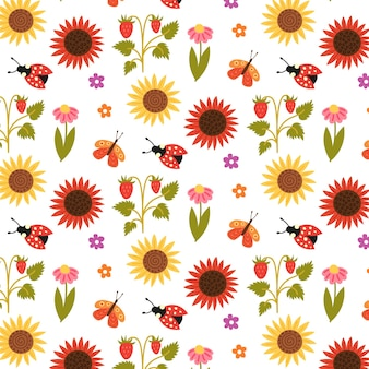Seamless pattern sunflowers strawberries flowers insects. repetitive background with a rustic motif. vector hand draw paper, nursery design wallpaper