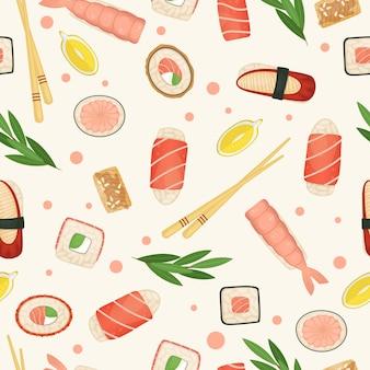 シームレスパターンの寿司とロール。日本食。