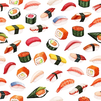 Seamless pattern sushi rolls. japanese food