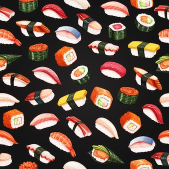 Суши-роллы бесшовные модели на черном