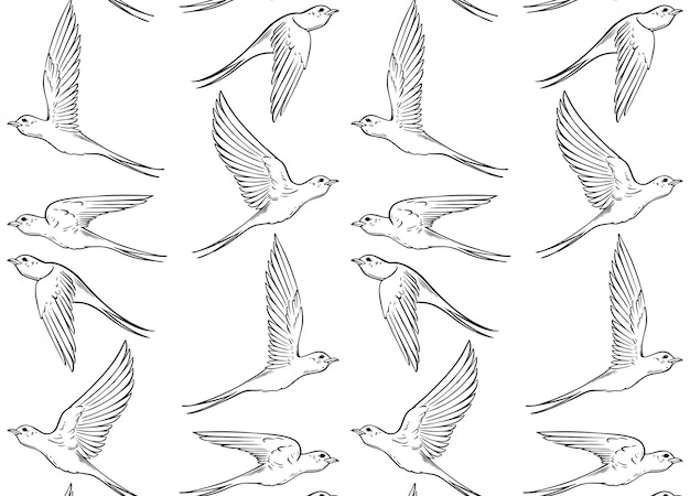 Seamless pattern of swallows pattern