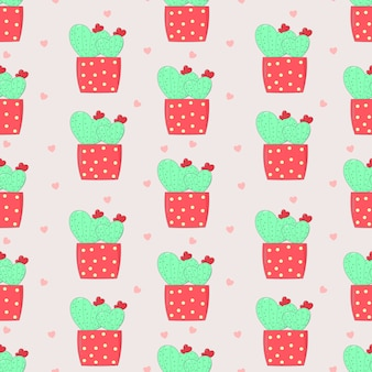 Seamless pattern sweet cactus in love in the pink pot