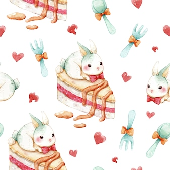 Seamless pattern sweet cake and rabbit watercolor