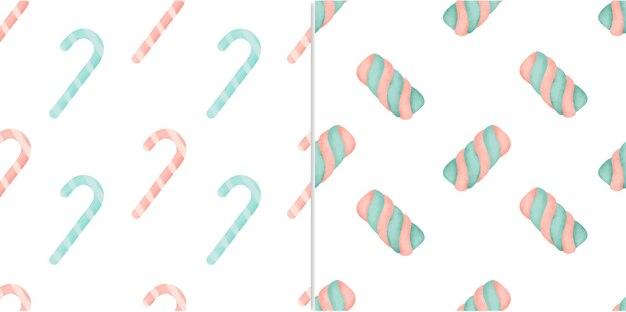 원활한 패턴 달콤한 사탕과 수채화 그림에서 인사말 카드