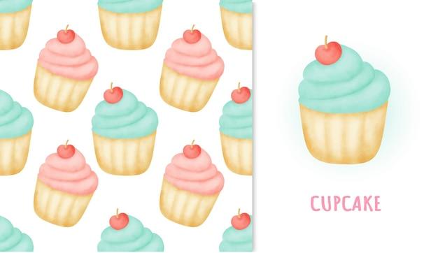 水彩イラストのシームレスなパターンの甘いカップケーキとグリーティングカード