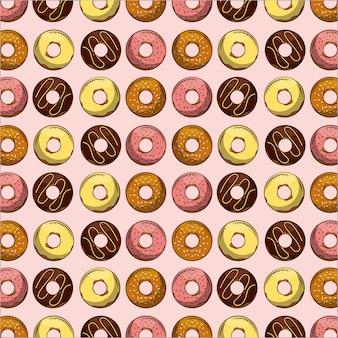 원활한 패턴 달콤한 디저트 과자 도넛