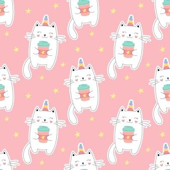 Бесшовный фон сладкий котенок единорог, маленький котенок, чашка кофе. девичий принт на текстиле, упаковке, ткани, обоях.