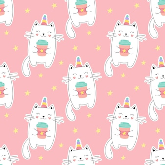 Seamless pattern sweet kitty unicorn, little kitten, a cup of coffee. girlish print for textiles, packaging, fabrics, wallpapers.