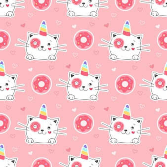 Seamless pattern sweet kitty unicorn with donut. girlish print for textiles, packaging, fabrics, wallpapers.