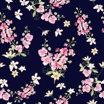 青の背景にシームレスなパターンの甘いピンクと白の植物相。