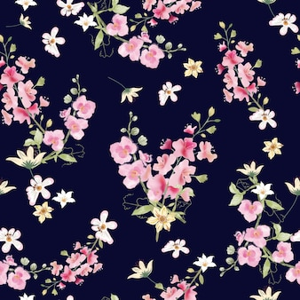 Seamless pattern sweet pink and white flora on blue background.