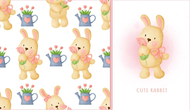 シームレスパターンの甘いウサギ