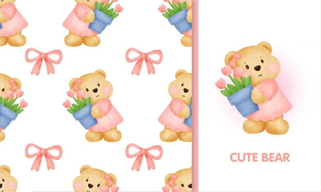Seamless pattern sweet teddy bear and greeting card