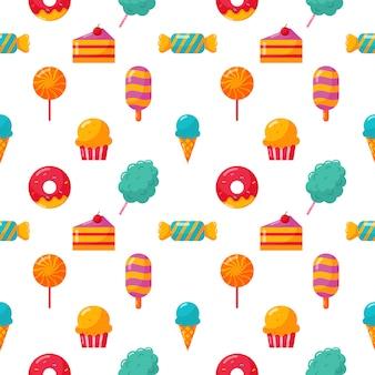 シームレスパターンのお菓子とデザートアイコンセット分離白