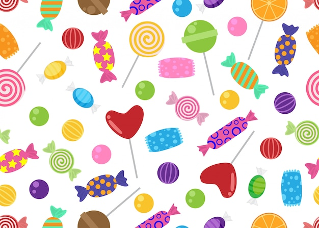 Seamless pattern of sweets and candies icon
