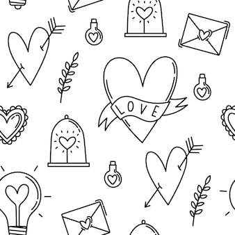 Seamless pattern symbols and elements for valentine's day