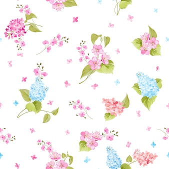 Seamless pattern of syringa flowers.