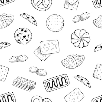 Seamless pattern of tasty biscuits with hand drawn or sketch style