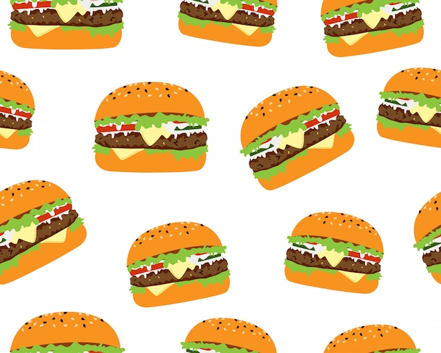 Seamless pattern of tasty cheeseburger