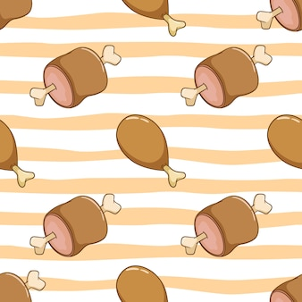 Seamless pattern of tasty chicken and pig meat. delicious drum stick with doodle style